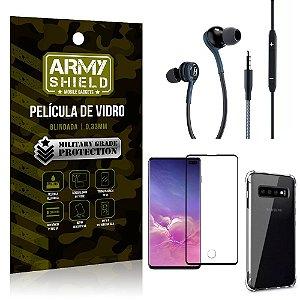 Kit Galaxy S10 Plus Fone Extreme + Capa Anti Impacto + Película 3D - Armyshield
