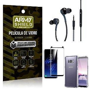 Kit Galaxy S8 Plus Fone Extreme + Capa Anti Impacto + Película 3D - Armyshield