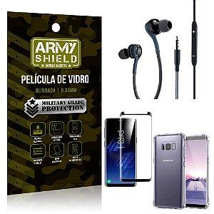 Kit Galaxy S8 Fone Extreme + Capa Anti Impacto + Película 3D - Armyshield