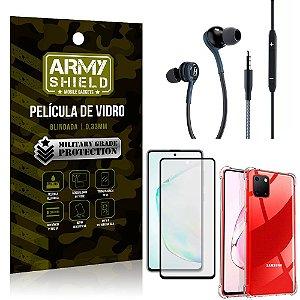 Kit Galaxy Note 10 Lite Fone Extreme + Capa Anti Impacto + Película 3D - Armyshield