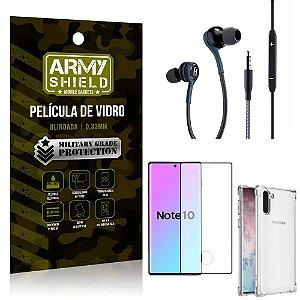 Kit Galaxy Note 10 Fone Extreme + Capa Anti Impacto + Película 3D - Armyshield