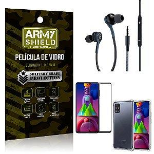 Kit Galaxy M51 Fone Extreme + Capa Anti Impacto + Película 3D - Armyshield