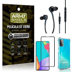 Kit Galaxy A52 Fone Extreme + Capa Anti Impacto + Película 3D - Armyshield