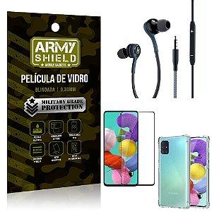 Kit Galaxy A51 Fone Extreme + Capa Anti Impacto + Película 3D - Armyshield