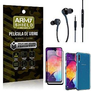 Kit Galaxy A50 Fone Extreme + Capa Anti Impacto + Película 3D - Armyshield