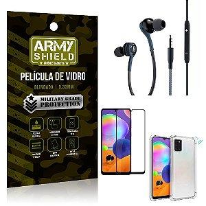 Kit Galaxy A31 Fone Extreme + Capa Anti Impacto + Película 3D - Armyshield