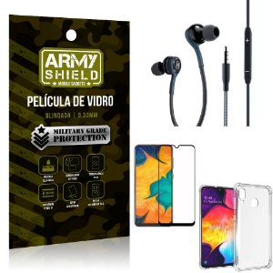 Kit Galaxy A30 Fone Extreme + Capa Anti Impacto + Película 3D - Armyshield