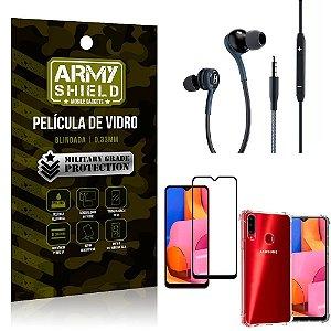 Kit Galaxy A20S Fone Extreme + Capa Anti Impacto + Película 3D - Armyshield