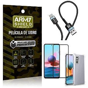 Cabo Usb Tipo C HS-302 Redmi Note 10S + Capinha + Película 3D - Armyshield