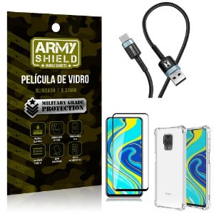 Cabo Usb Tipo C HS-302 Redmi Note 9S + Capinha + Película 3D - Armyshield