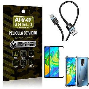 Cabo Usb Tipo C HS-302 Redmi Note 9 + Capinha + Película 3D - Armyshield
