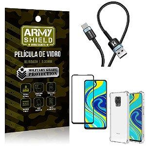 Cabo Usb Tipo C HS-302 Redmi Note 9 Pro + Capinha + Película 3D - Armyshield