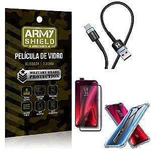 Cabo Usb Tipo C HS-302 Redmi K20 Mi 9T + Capinha + Película 3D - Armyshield