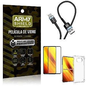 Cabo Usb Tipo C HS-302 Poco X3 + Capinha + Película 3D - Armyshield