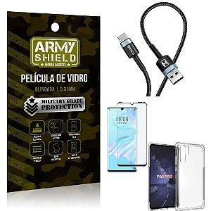 Cabo Usb Tipo C HS-302 Huawei P30 Pro + Capinha + Película 3D - Armyshield