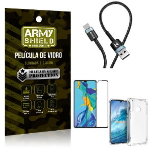 Cabo Usb Tipo C HS-302 Huawei P30 Lite + Capinha + Película 3D - Armyshield