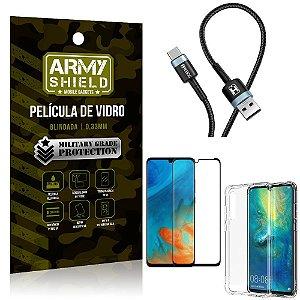 Cabo Usb Tipo C HS-302 Huawei P30 + Capinha + Película 3D - Armyshield