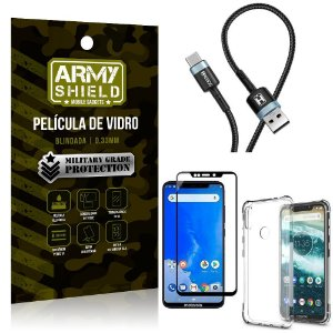 Cabo Usb Tipo C HS-302 Moto One + Capinha + Película 3D - Armyshield