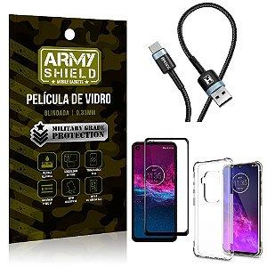 Cabo Usb Tipo C HS-302 Moto One Zoom + Capinha + Película 3D - Armyshield