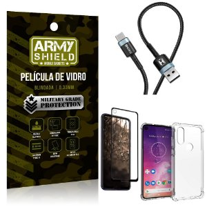 Cabo Usb Tipo C HS-302 Moto One Vision + Capinha + Película 3D - Armyshield