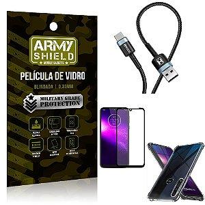 Cabo Usb Tipo C HS-302 Moto One Macro + Capinha + Película 3D - Armyshield
