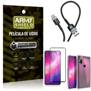 Cabo Usb Tipo C HS-302 Moto One Hyper + Capinha + Película 3D - Armyshield
