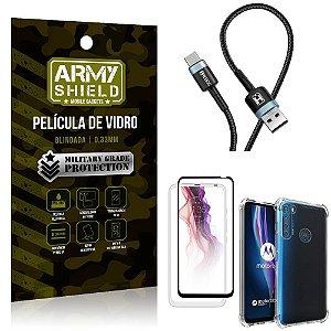 Cabo Usb Tipo C HS-302 Moto One Fusion Plus + Capinha + Película 3D - Armyshield