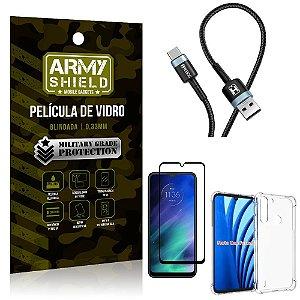 Cabo Usb Tipo C HS-302 Moto One Fusion + Capinha + Película 3D - Armyshield