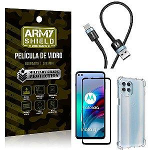 Cabo Usb Tipo C HS-302 Moto G100 + Capinha + Película 3D - Armyshield