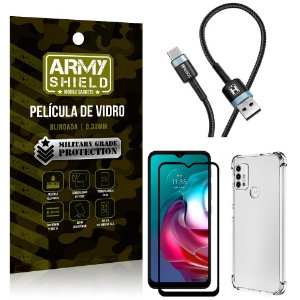 Cabo Usb Tipo C HS-302 Moto G30 + Capinha + Película 3D - Armyshield