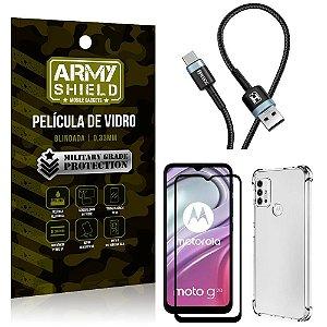 Cabo Usb Tipo C HS-302 Moto G20 + Capinha + Película 3D - Armyshield