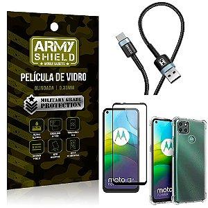 Cabo Usb Tipo C HS-302 Moto G9 Power + Capinha + Película 3D - Armyshield