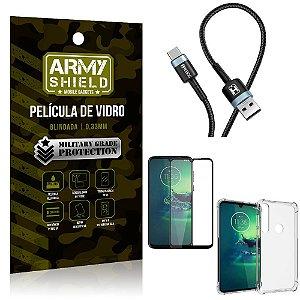 Cabo Usb Tipo C HS-302 Moto G8 Play + Capinha + Película 3D - Armyshield