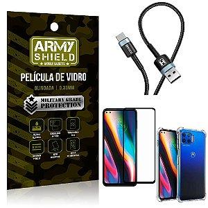 Cabo Usb Tipo C HS-302 Moto G 5G Plus + Capinha + Película 3D - Armyshield