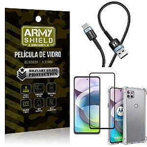 Cabo Usb Tipo C HS-302 Moto G 5G + Capinha + Película 3D - Armyshield