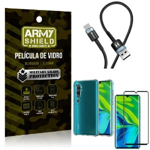 Cabo Usb Tipo C HS-302 Mi Note 10 - Note 10 Pro + Capinha + Película 3D - Armyshield