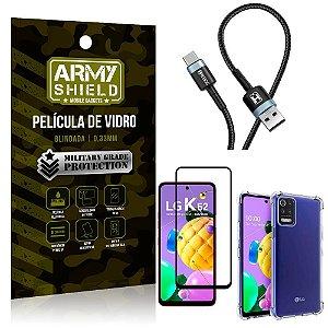 Cabo Usb Tipo C HS-302 LG K62 + Capinha + Película 3D - Armyshield