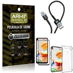 Cabo Usb Tipo C HS-302 LG K61 + Capinha + Película 3D - Armyshield