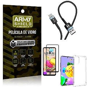 Cabo Usb Tipo C HS-302 LG K52 + Capinha + Película 3D - Armyshield