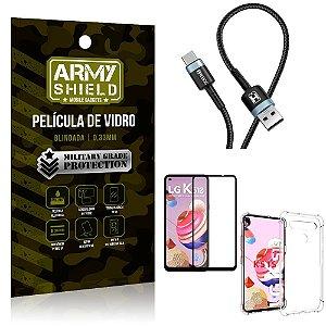 Cabo Usb Tipo C HS-302 LG K51s + Capinha + Película 3D - Armyshield