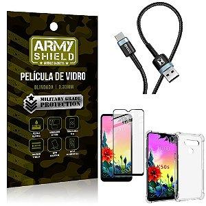 Cabo Usb Tipo C HS-302 LG K50s + Capinha + Película 3D - Armyshield
