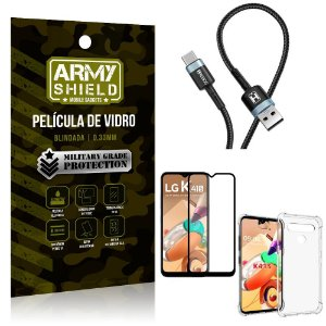 Cabo Usb Tipo C HS-302 LG K41s + Capinha + Película 3D - Armyshield