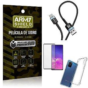Cabo Usb Tipo C HS-302 Samsung S10 Lite + Capinha + Película 3D - Armyshield