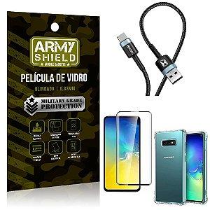 Cabo Usb Tipo C HS-302 Samsung S10e + Capinha + Película 3D - Armyshield