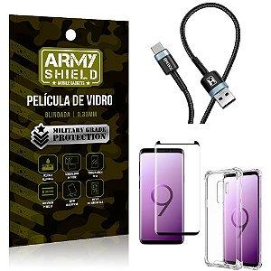 Cabo Usb Tipo C HS-302 Samsung S9 Plus + Capinha + Película 3D - Armyshield