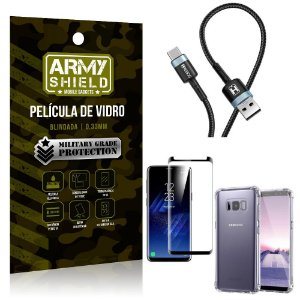 Cabo Usb Tipo C HS-302 Samsung S8 + Capinha + Película 3D - Armyshield