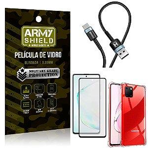 Cabo Usb Tipo C HS-302 Samsung Note 10 Lite + Capinha + Película 3D - Armyshield
