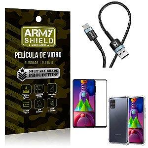 Cabo Usb Tipo C HS-302 Samsung M51 + Capinha + Película 3D - Armyshield