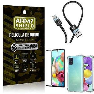 Cabo Usb Tipo C HS-302 Samsung A71 + Capinha + Película 3D - Armyshield