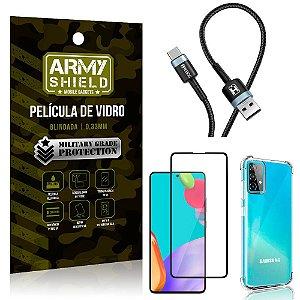 Cabo Usb Tipo C HS-302 Samsung A52 + Capinha + Película 3D - Armyshield